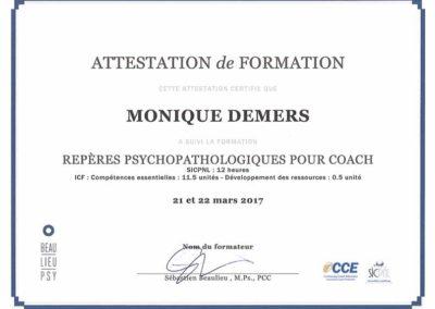 Attestation Repères psychopathologiques pour coach