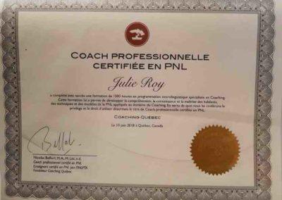 Certificat de Coach PNL - Julie Roy
