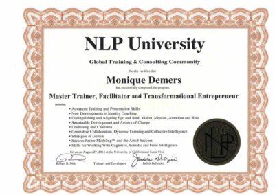 Certificat NLP Master Trainer 2014
