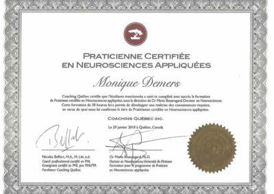 Certificat Praticienne en neurosciences appliquées 2018