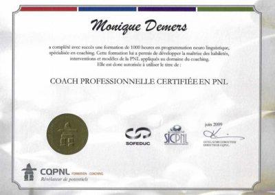Certificat de Coach PNL 2009