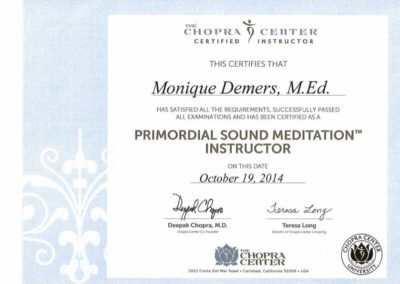 Certificat meditation Chopra Center 2014