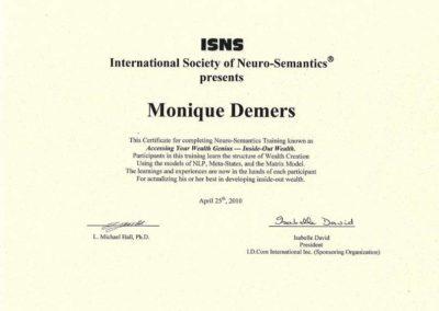 Certificat Neuro-Semantics 2010 - ISNS