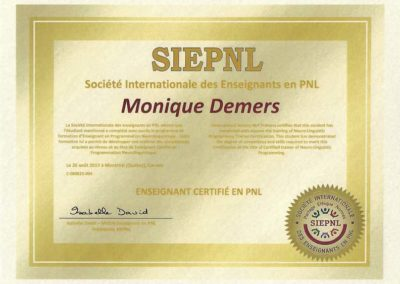 Enseignante certifiée SIEPNL 2013