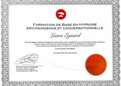 Certificat base hypnose - Laura Eynard