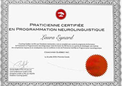 Certificat praticien PNL - Laura Eynard