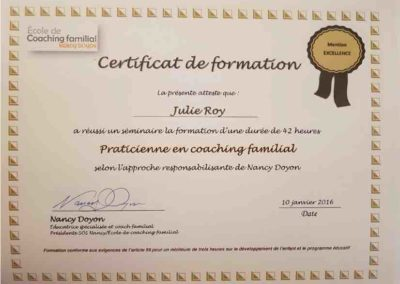 Certificat Praticien Coach familial - Julie Roy