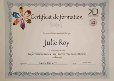 Certificat Process communication, Julie Roy