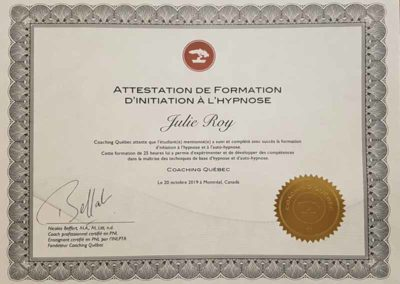 Attestation formation base hypnose Julie Roy