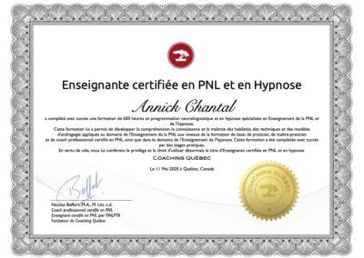 Annick Chantal Enseignante certifiee en PNL et Hypnose