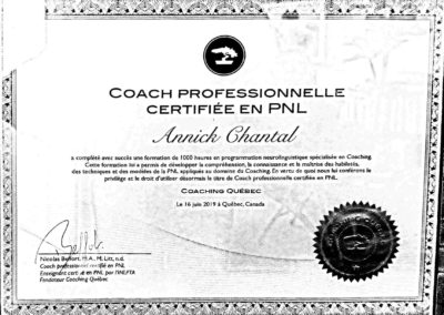 Certificat coach PNL Annick Chantal