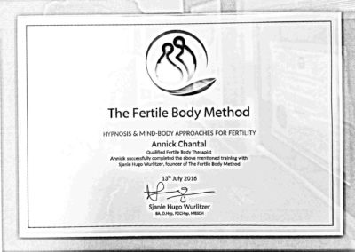 Certificat Fertile body method Annick Chantal